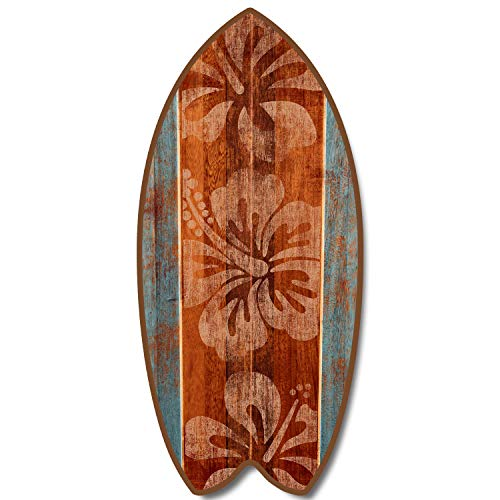 Dos tonos hibisco 11'Mini tabla de surf con texto en inglés