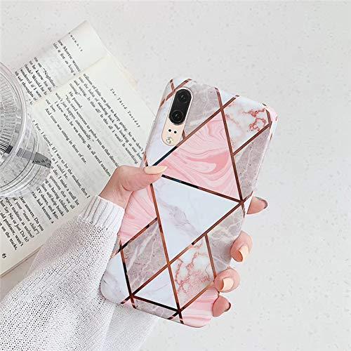 Kompatibel mit Huawei P20 Hülle,Handyhülle Huawei P20 Case Rosa Marmor Muster Ultradünn TPU Silikon Hülle Schutzhülle Weiche Crystal Clear Silikon Bumper Rückschale Case Cover,Design D