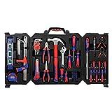 WORKPRO Mallette à Outils 77 Pièces avec Boîte de Rangement Pliable, Boîte à Outils Complete pour Usage Domestique ou du Travail