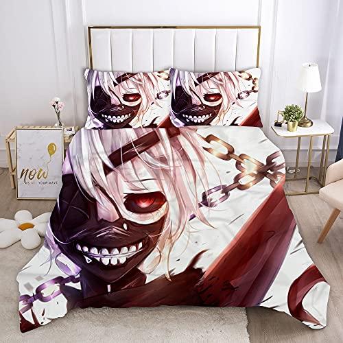 Probuk Tokyo Ghouls - Biancheria da letto in microfibra con copripiumino e federa (A-08,220 x 260 cm (80 x 80 cm)