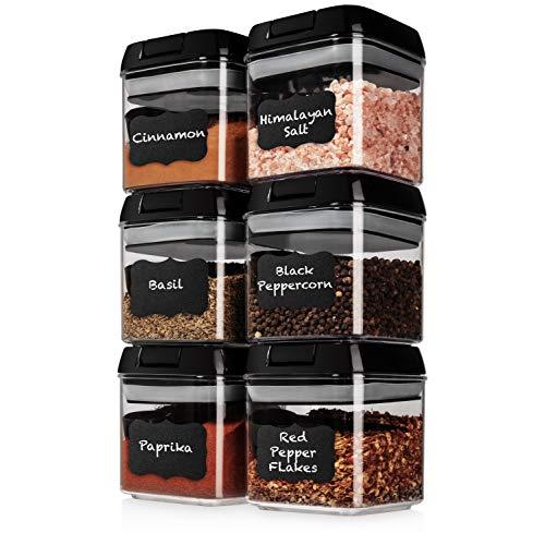 Shazo - Juego de 6 recipientes herméticos + 6 cucharas, etiquetas y marcadores, contenedores de almacenamiento de alimentos de plástico transparente duradero con tapas,...