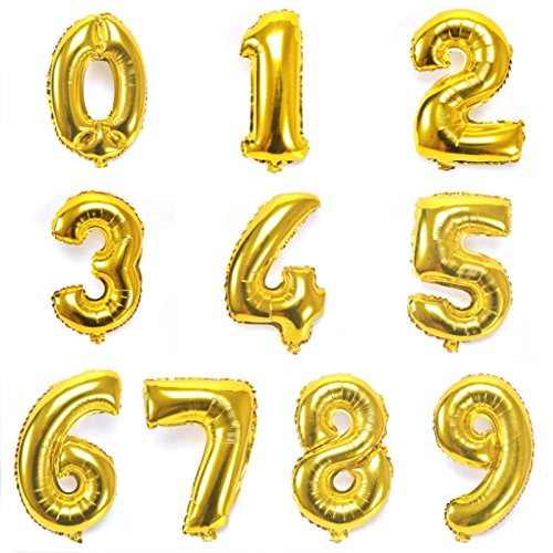 """16"""" Gold 0-9 Number Balloons Foil Balloons Mylar Balloons for Party Decorations Party Supplies"""