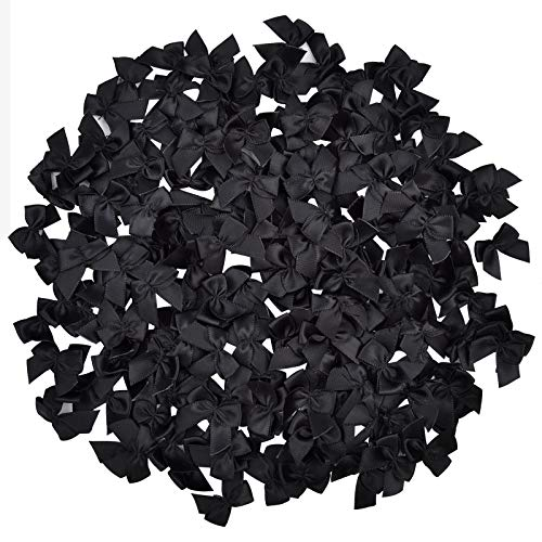 200pcs Mini Satin Ribbon Bows DIY Craft for Sewing Flowers Appliques Crafts Decoration Hair Accessories for Wedding Gift Box (Black)