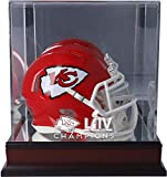 Kansas City Chiefs Super Bowl LIV Champions Mahogany Mini Helmet Logo Display Case - Football Mini Helmet Free Standing Display Cases