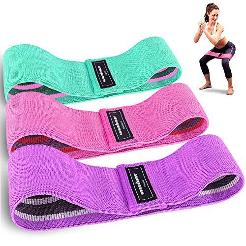 Fitnessbänder,3er Set Widerstandsbänder Set Loop-Band für Hüften und Gesäß, 3 Widerstandsstufen für Hintern, Beine und Ganzkörpertraining, Resistance Hip Bands (Pink/Green/Purple)