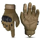 Glove Station The Combat Military Police Outdoor Sports Tactical Rubber Hard Knuckle Gloves for Men (Tan, Large)