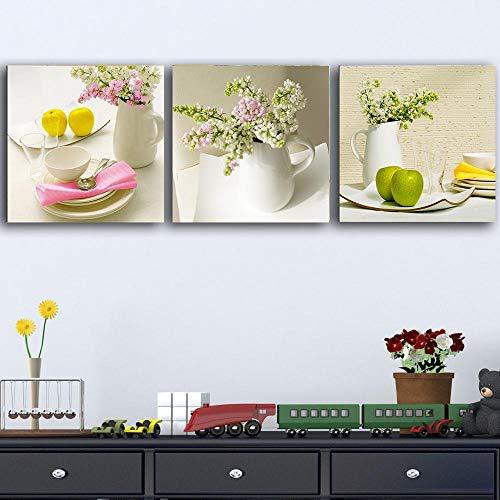 Cuadro modular de frutas flores florero vajilla cartel estilo nórdico decoración de la sala de estar decoración escandinavo arte de pared 50 x 50 cm x3 sin marco