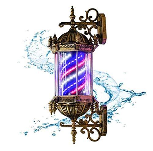 JUNWEN Lámpara de Poste de Peluquero Impermeable rotativo Rojo Blanco Tiras LED Azul Tiras de Hilado Peluquería Salón Luz de luz Lámpara de Pared Retro Retro Lámpara de Pared, Bronce