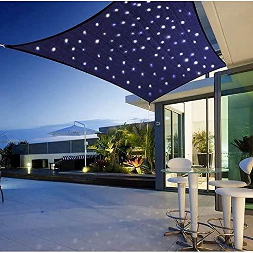 ACCZ Sonnensegel, LED Sonnensegel Sonnenschutz 2x3m Blau Rechteck Markise aus hochwertigem HDPE-Material with LED Lighting for Garden or Patio