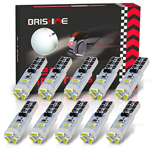BRISHINE 10X T5 LED Bulbs Xenon White Canbus Error Free 3014 Chipsets Wedge 74 2721 37 PC74 LED Bulbs for Car Interior Gauge Cluster Dashboard Instrument Panel Indicators Speedo AC Lights