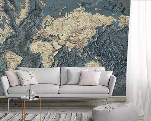 Benutzerdefinierte Fototapete Wandbild Handgezeichnete Retro Vintage Weltkarte Tv Hintergrund Tapeten Wohnkultur Papel De Parede,3D,350x245cm