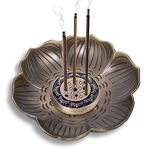 CYOUNG Vintage-Räucherstäbchenhalter in Lotus-Form, mit Aschefänger, 9 Löcher, Bronze