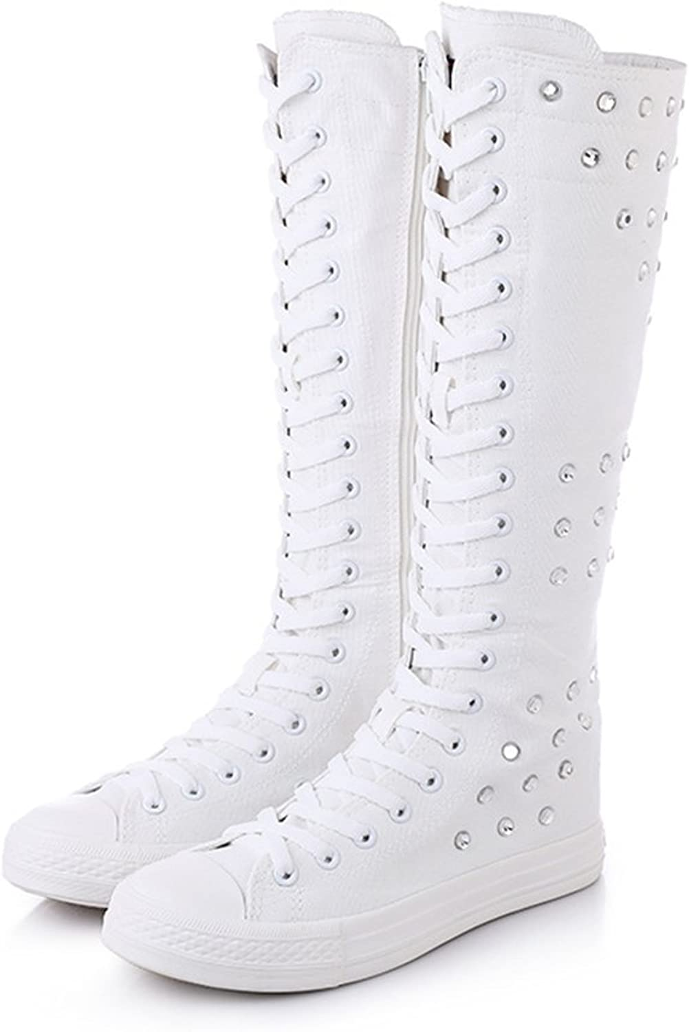 Xiaoyang Girls Women Fashion Knee High Lace-up Canvas Boots Pure White Black Zip Dance Boots