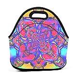 Contenedor de neopreno y contenido Mandala bolsa de almuerzo portátil con correa de cremallera, bolsa de picnic al aire libre, viajes, bolso de moda, para mujeres, hombres, niños y niñas