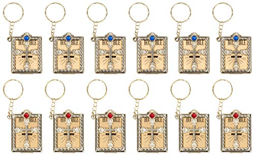 Bible Keychains - 12-Pack Mini Bible Keychain, Jesus Keychain, Miniature Holy Bible, Religious Keyrings, Religious Favors for Baptism, Church, Communion, English, Gold, 1.4 x 3.3 x 0.5 Inches