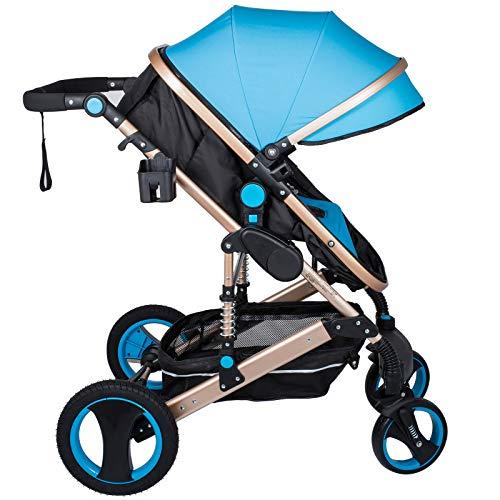 Husuper 2 en 1 Cochecito de de Alta Calidad Plegable Portátil Ligero Amortiguador Ajustable para Bebés Recién Nacidos Carrito con Capazo Cuna para Bebé Azul