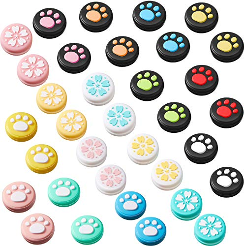 34 Pieces Replacement Cute Cat Claw and Flower Design Thumb Grip Caps Thumb Grips Analog Stick Cover Joystick Cap Silicone Cover Compatible with Nintendo Switch, Switch Lite and Joy-Con Controller