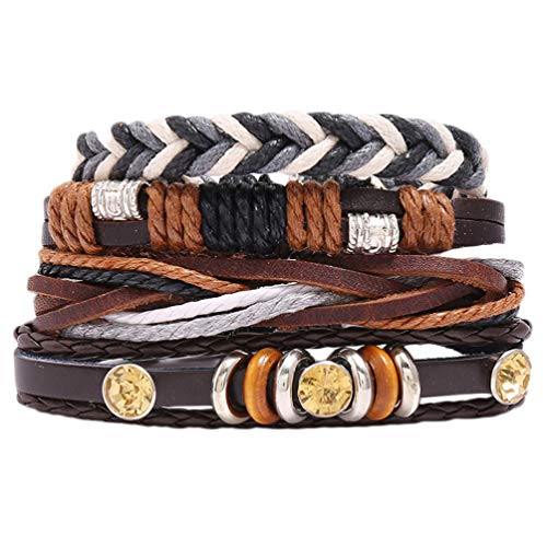 Holibanna 4Pcs Baroque Leather Wrap Bracelets Vintage Woven Wrist Cuff Chain Link Multilayer Hand Rope Wristband Jewelry for DIY Lover Man Woman
