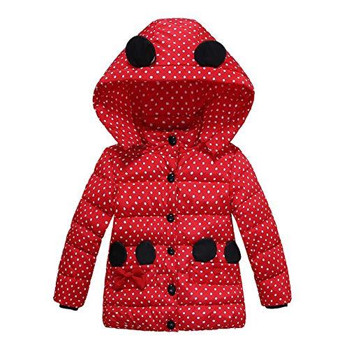 NINGSANJIN Baby-Kapuzen Mantel, Mode Kinder Mantel Baby Mädchen Dicke Mantel Daunenjacke Gepolsterte Dot Bowknot Winter Jacke Kleidung (Age:1-2T, Rot)