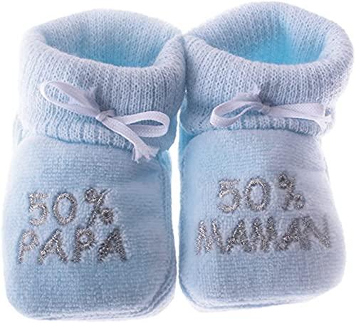 Happy baby Chaussons bébé brodés 50% Papa 50% Maman 0/3mois (Bleu/argent)