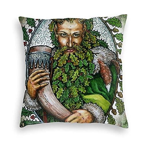 Lewiuzr Navidad Yule Pagan Norse Viking Wicca Wiccan Square Throw Pillow Covers Car Decoraciones Funda de cojín para sofá Dormitorio 18X18 Pulgada