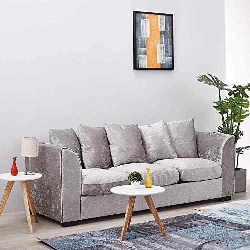 EYDSHIKL Salón sofá sofá de Tela (con Cinco Almohadas) Esquina de Terciopelo sofá de 3 plazas sofá de Tela Bancos tapizados tapizados Plata,3 Seater