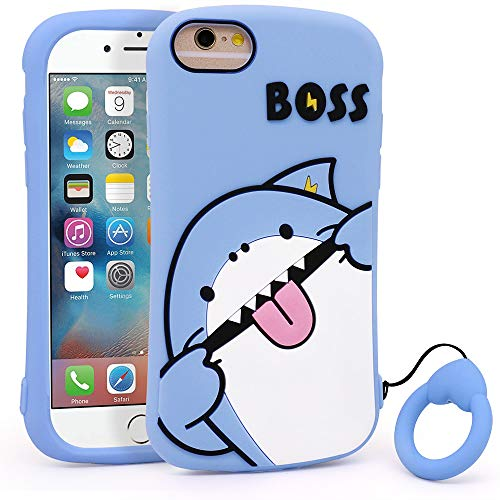 YONOCOSTA Cute iPhone SE 2020 case, iPhone 6 Case, iPhone 6s Case, iPhone 7 Case, iPhone 8 Case, Funny Shark 3D Cartoon Fish Soft Silicone Full Protection Shockproof Back Cover Case Skin with Keychain