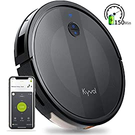 Kyvol Cybovac E20 Robot Vacuum Cleaner, 2000Pa Suction, 150 min Runtime, Boundary Strips Included, Quiet, Super-Thin… 1 Powerful Suction & Ultra-thin: 2000Pa strong suction power, are suitable for hard floors to medium-pile carpets. Special design for daily cleaning, Cybovac E20 can easily clean various dust, hairs, and cat litter from your room, carpet, and under furniture. Kyvol robotic vacuum cleaner has a slim 2.85-inch body. It's thin enough to reach every corner of a house or narrow space, clean leftover dirty areas, and keep your house neat 150 min Runtime & Self-charging: This automatic vacuum cleaner robot has a high capacity lithium-ion battery of 3200mAh and a charging base. It could continuously work about 150 minutes(max) to meet the cleaning needs from the living room to the bedroom. When the battery is low(light turns to orange), it will automatically return to the charging base Smart App & Voice Control: You can easily create a cleaning schedule, change the cleaning mode, and control the cleaning direction by using the Kyvol app. The auto vacuum cleaner robot is also compatible with Alexa and Google Assistant, allowing users to let the robot start and stop the cleaning by voice commands. Use robots to save you time and energy