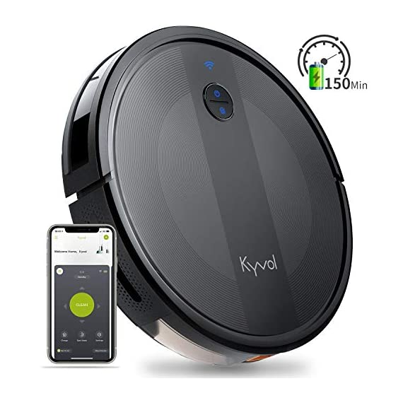 Kyvol cybovac e20 robot vacuum cleaner, 2000pa suction, 150 min runtime, boundary strips included, quiet, super-thin… 1 powerful suction & ultra-thin: 2000pa strong suction power, are suitable for hard floors to medium-pile carpets. Special design for daily cleaning, cybovac e20 can easily clean various dust, hairs, and cat litter from your room, carpet, and under furniture. Kyvol robotic vacuum cleaner has a slim 2. 85-inch body. It's thin enough to reach every corner of a house or narrow space, clean leftover dirty areas, and keep your house neat 150 min runtime & self-charging: this automatic vacuum cleaner robot has a high capacity lithium-ion battery of 3200mah and a charging base. It could continuously work about 150 minutes(max) to meet the cleaning needs from the living room to the bedroom. When the battery is low(light turns to orange), it will automatically return to the charging base smart app & voice control: you can easily create a cleaning schedule, change the cleaning mode, and control the cleaning direction by using the kyvol app. The auto vacuum cleaner robot is also compatible with alexa and google assistant, allowing users to let the robot start and stop the cleaning by voice commands. Use robots to save you time and energy