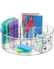 mDesign Desk Tidy — Lazy Susan voor het opslaan van briefpapier thuis of op kantoor — briefpapier organisator voor desktops — duidelijk