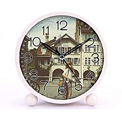 Cute Color Alarm Clock, Round Metal Desk Clock Portable Clocks with Night Light House Decorations -119.Bike, City, Film, Girl (Black)