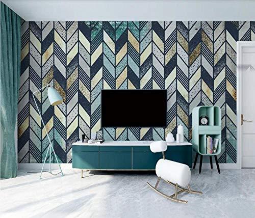 Fototapete 3D Tapete Geometrische Goldene Naht Retro 3D VliesTapete Wandbilder Wohnzimmer Moderne Wanddeko Tapeten - 400x280cm