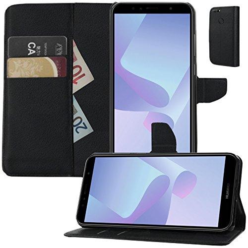 MOELECTRONIX Buch Klapp Tasche Schutz Hülle Wallet Flip Hülle Etui passend für Huawei Y7 2018 Dual SIM LDN-L21