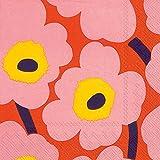 Boston International L552657 IHR Marimekko - Tovaglioli di carta, motivo floreale, colore: Rosa/Arancione