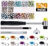 Queta Kit de Ojetes Coloridas 500pcs Juego de Ojales de Metal, Kit de Herramientas de Ojetes y Arandelas, para DIY Artesanía Zapatos/Bolsos/Cuero/Lona/Ropa, con Caja Organizador