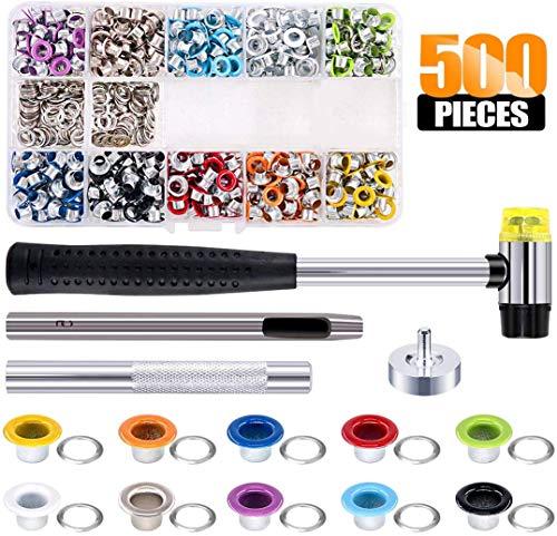 Ösen Set, Queta 500 Stück Ösenzange Metallösen 5mm Grommet Werkzeug Kit mit Locheisen Planenösen Installation Werkzeuge für Schuhe Leder Taschen Kleidung DIY Handwerk