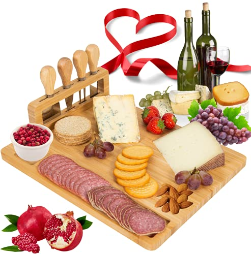 Giggi Bamboo Cheese Board Gift Set | Cheese Board with 4 Piece Cheese...