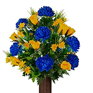 Sympathy Silks Artificial Cemetery Flowers – Realistic Vibrant Roses, Outdoor Grave Decorations – Non-Bleed Colors, and Easy Fit – 1 Blue Mum and Yellow Rose Bouquet
