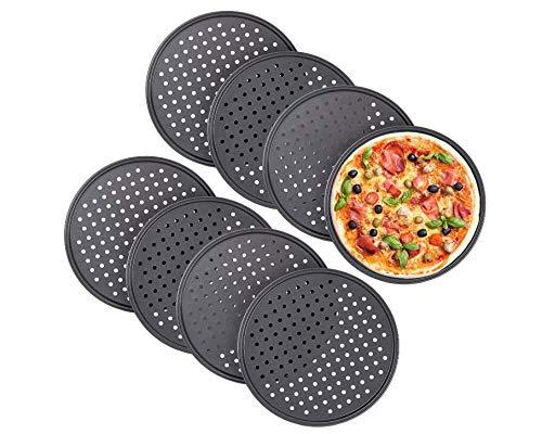 HYDO Geschirr 8 x Pizzablech, rund, gelocht, antihaft, Pizza & Flammkuchen, Lochblech aus Stahl, Knusperblech, ∅ 32 cm, anthrazit