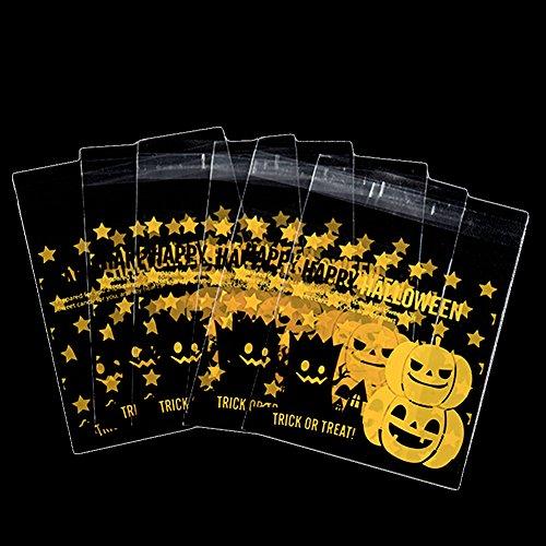 DaoRier 100 Pcs Citrouille Sacs Sac de Bonbons Halloween Cookies Bricolage Auto-adhésifs de Cuisson Sac D'Emballage Cadeaux Sachets en PP de Qualité Alimentaire (Citrouille)