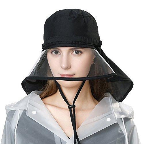 Rollbarer Regenhut Damen Wasserdicht Accessoires mit Kinnband Schwarz