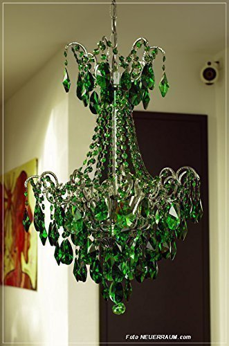 NEUERRAUM Bunter Jugendstil Kristall Kronleuchter mit grünem Echt Kristall. Passende Kristall Wandlampen bestellbar.