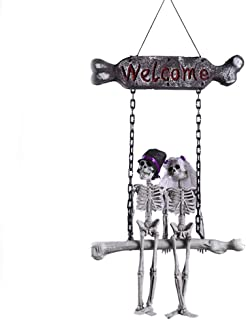 JINRU Hanging Skeleton Ghost Bride and Groom Wedding Couple, Day of The Dead and Halloween Prop for Skull Decorations for Halloween Haunt Décor Best Halloween Decoration