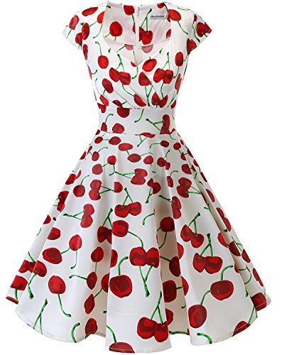 bbonlinedress Frauen Kurz 50er Jahre Retro Vintage Cocktail Party Swing Kleider,Farbe White Red Cherry, X-Klein (XS)
