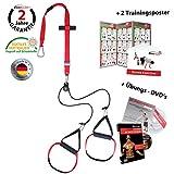 Variosling® Sling Trainer mit Umlenkrolle mit Gymbox Griffschlaufen inkl. 2X Schlingentrainer DVD, Türanker, Poster Made IN Germany (Rotate)