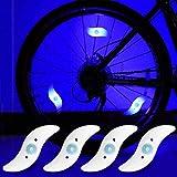 yifengshun 4pcs luz de radios de Bicicleta, Rayo de la decoración Impermeable de la Rueda de la Bicicleta luz del Destello del LED lámparas de neón usadas-Azul