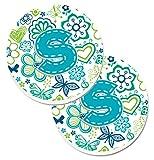 Caroline tesoros de la letra S flores y mariposas azul turquesa azul Set de 2cup Holder coche posavasos cj2006-scarc, 2,56, multicolor