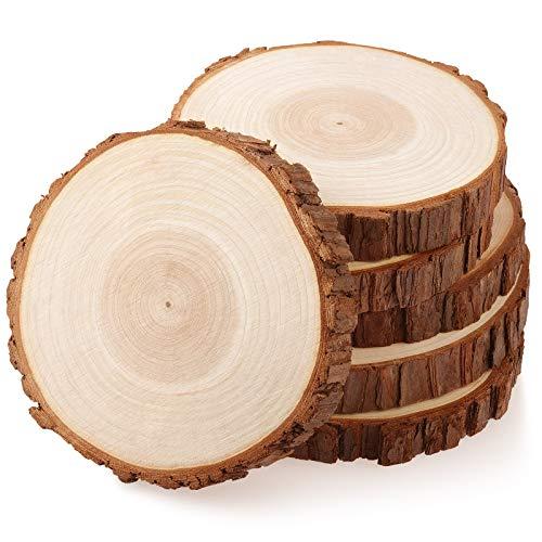 Fuyit Rondin de Bois 15-16cm sans Trou 6 Pcs Tranches de Bois Naturel Convient pour Decoration Noel Bois, Marque Place Mariage, Pyrograveur Bois
