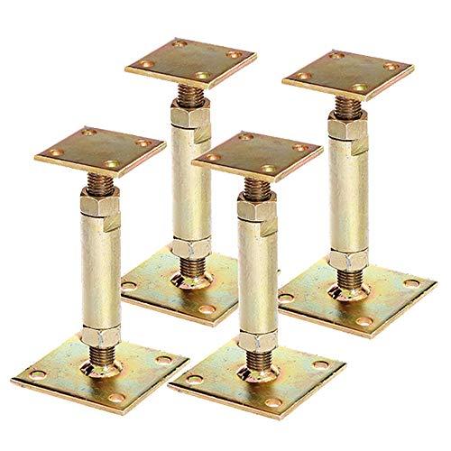 4x GAH Pfostenträger mit 2 Platten gelb verzinkt aufdübelbar höhenverstellbar