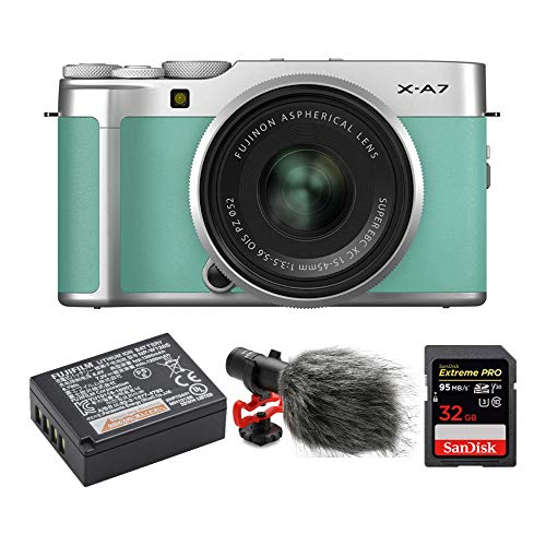Find Bargain Fujifilm X-A7 Mirrorless Camera with 15-45mm f/3.5-5.6 Lens (Mint Green) Video Blog Bun...